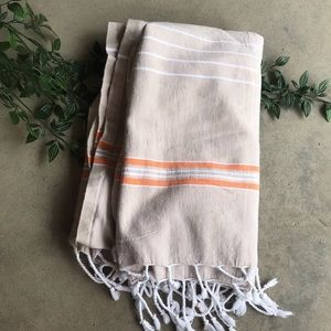 Tan Orange Striped Cotton Tassel Beach Towel